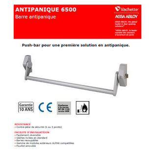 VACHETTE.ALPHA 6510 Barre anti panique 1 point PUSH BAR / issues de secours