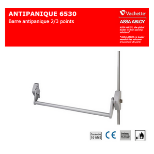 VACHETTE.ALPHA 6530 Barre anti panique 2 points haut & bas PUSH BAR / issues de secours